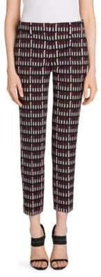 Prada Lana Lipstick-Print Wool Ankle Pants