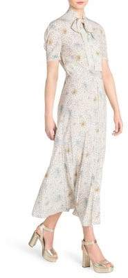 Miu Miu Bow Tie Print A-Line Maxi Dress