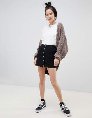 Pull&Bear Denim Mini Skirt With Tortoise Buttons