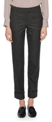 Giorgio Armani Cashmere Straight-Leg Cuffed Pants