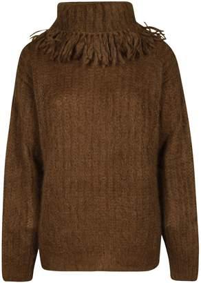 Miu Miu Rolled Fringed Collar Sweater
