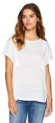 NYDJ Women's Linen Tee with Lace Detail