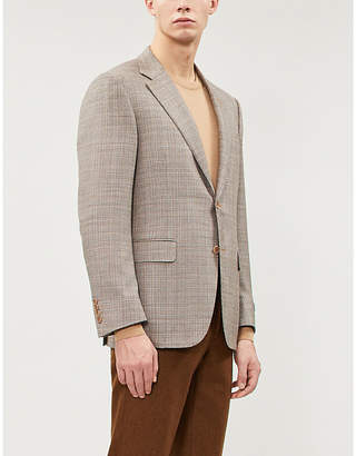 Canali Checked regular-fit wool-blend blazer