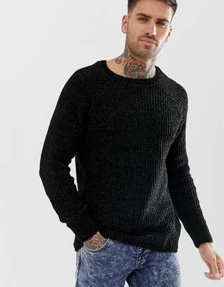 New Look chenille knit sweater in black