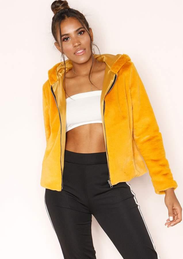 Missyempire Zinnia Mustard Faux Fur Hooded Jacket