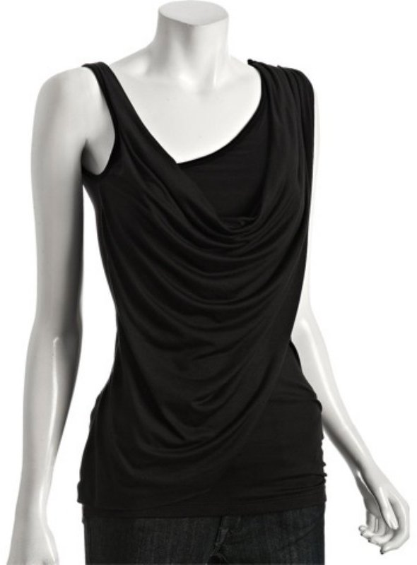 Casual Couture by Green Envelope black jersey asymmetrical draped tank