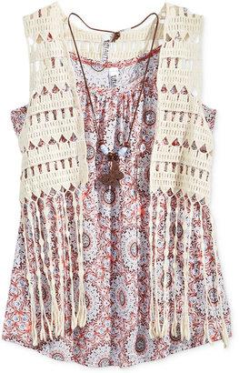 Beautees 2-Pc. Crochet Vest & Geo-Print Tank, Big Girls (7-16) $46 thestylecure.com