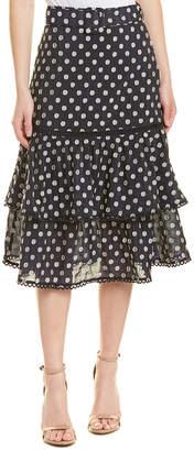 Champagne & Strawberry Ruffle Pencil Skirt