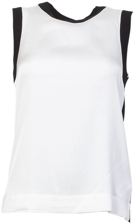 DKNY White And Black Merino Wool Tank Top
