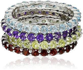 Gemstone Set of Four Stackable Rings in Sterling Silver
