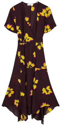 A.L.C. Claire Floral Silk Midi Dress