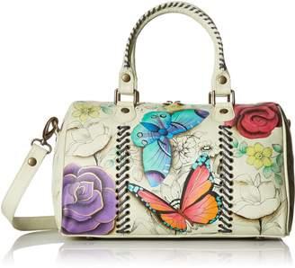 Anuschka Anna By Anna by Women's Genuine Leather All Round Zip Satchel | Hand Painted Original Artwork | Medium Zip-Top Organizer | Floral Paradise