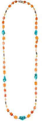 Stephen Dweck Turquoise & Carnelian Necklace