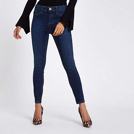 Womens Petite mid Blue Molly jeggings