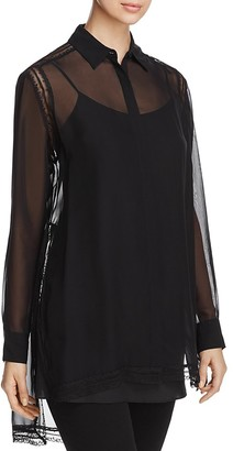 DKNY Semi-Sheer Button Down Blouse $199 thestylecure.com