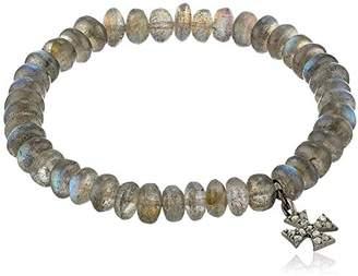 Azaara Maltese Cross Diamond and Labradorite Charm Stretch Bracelet (1/10cttw