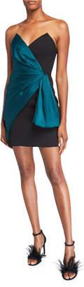 Jill Stuart Strapless Mini Crepe Dress with Bow Detail