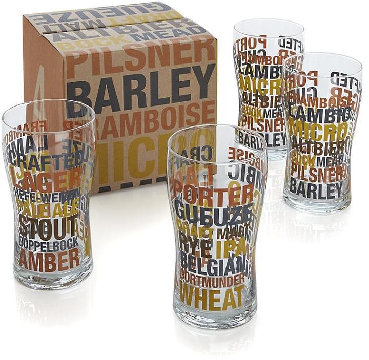 Crate & Barrel Set of 4 Barrel Beer Glasses