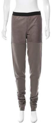 Isabel Benenato Mid-Rise Leather-Accented Leggings