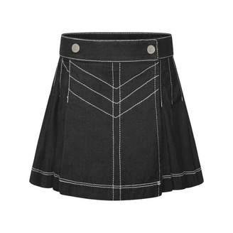 Junior Gaultier Junior GaultierGirls Blue Pleated Denim Skirt
