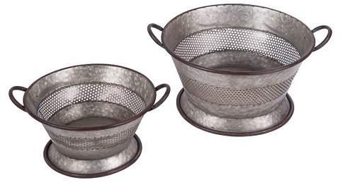Foreside Home & Garden Set Of 3 Galvanized Strainer Baskets - Silver