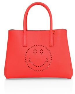 Anya Hindmarch Ebury Small Smiley Leather Tote $1,095 thestylecure.com