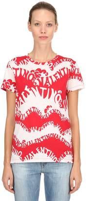 Valentino Logo Printed Jersey T-Shirt