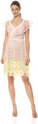 Donna Morgan Women's Novelty Lace Fit and Flare Dress