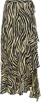 Faithfull The Brand Jasper Zebra-Print Crepe Midi Skirt