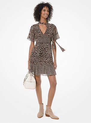 MICHAEL Michael Kors Mixed Leopard-Print Georgette Tie-Neck Dress