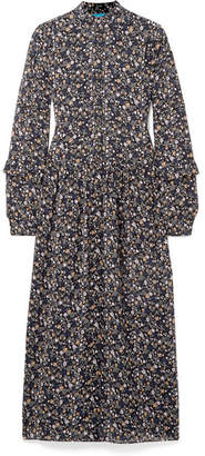 MiH Jeans Edith Floral-print Silk-georgette Maxi Dress - Blue