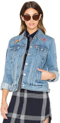 LEVI'S Boyfriend Embroidered Trucker Jacket $148 thestylecure.com