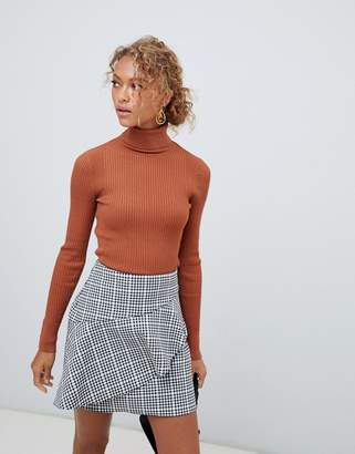 New Look roll neck sweater in rust