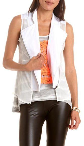 Charlotte Russe Chiffon Side Linen Motorcycle Vest