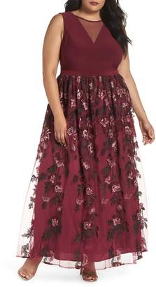 Morgan & Co. Sleeveless Embroidered Skirt Gown