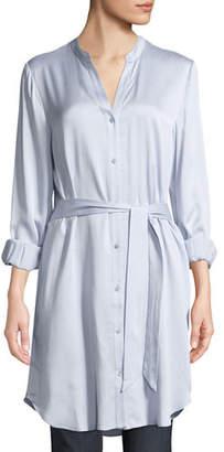 Eileen Fisher Silk Charmeuse Button-Front Long Shirt