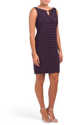 Shutter Pleat Lace Top Dress