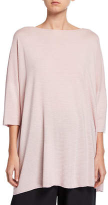 eskandar 3/4-Sleeve Long Square Silk Top