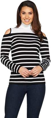Susan Graver Striped Rayon Nylon Cold Shoulder Sweater