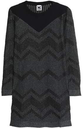 Ponte-Paneled Metallic Crochet-Knit Mini Dress