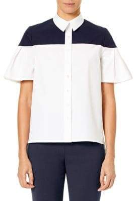 Carolina Herrera Flared Short-Sleeve Blouse
