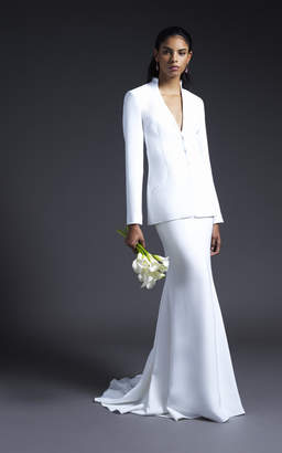 Cushnie Bridal Alex Collarless Fitted Jacket With Open Back