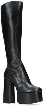 Saint Laurent Leather Billy Platform Knee High Boots 140