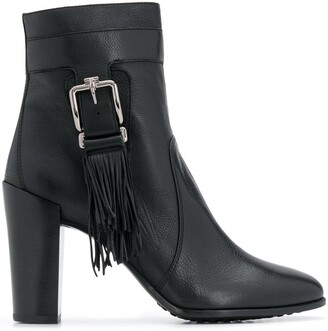 Tod's fringed buckle ankle boots