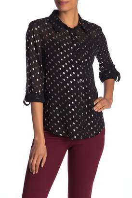 Nanette Lepore NANETTE Metallic Polkadot Button Down Blouse