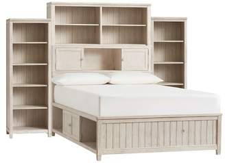 Pottery Barn Teen Beadboard Storage Bed Super Set, Queen, Weathered White, Excel - LSF