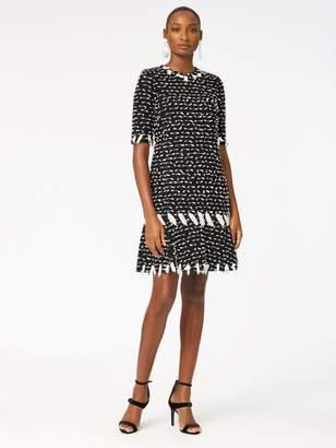 Oscar de la Renta Ribbon Tweed Drop-Waist Dress
