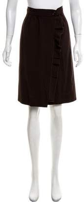 Valentino Ruffle-Trimmed Wool Skirt w/ Tags
