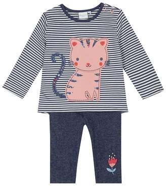 Bluezoo BLUE ZOO 'Baby Girls' Blue Cat Applique Top And Jeggings Set