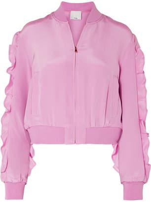 Tibi Ruffled Silk Crepe De Chine Bomber Jacket - Pink